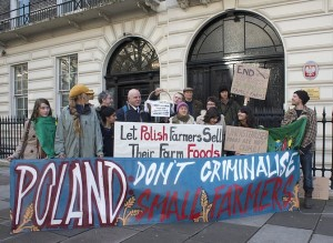 Protestors with the International Coalition to Protect the Polish Countryside (ICPPC) rally outside the Poland Embassy in London, February 2014.